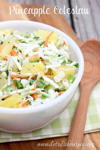 Pineapple Coleslaw is so easy, and a delicious, sweet twist on the classic cabbage salad. #recipe