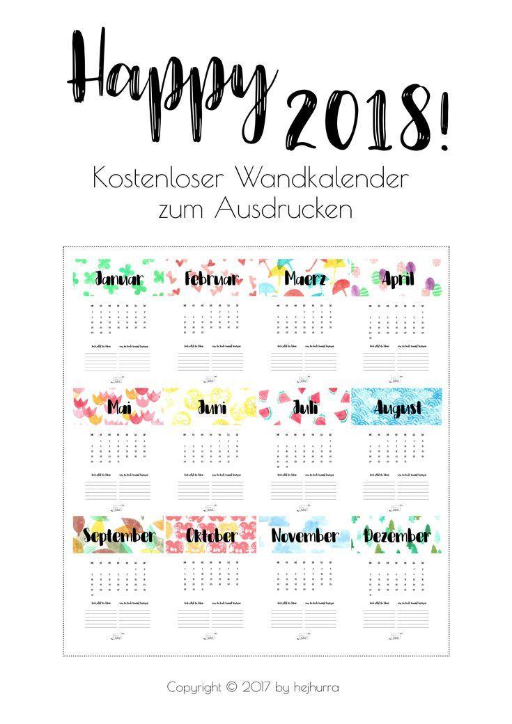 106 besten Kalender 2018 Bilder auf Pinterest | Kalender 2018 ...