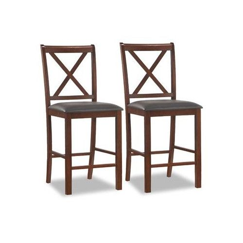 leick wood crossback counter height stool ebony faux leather seat set of 2