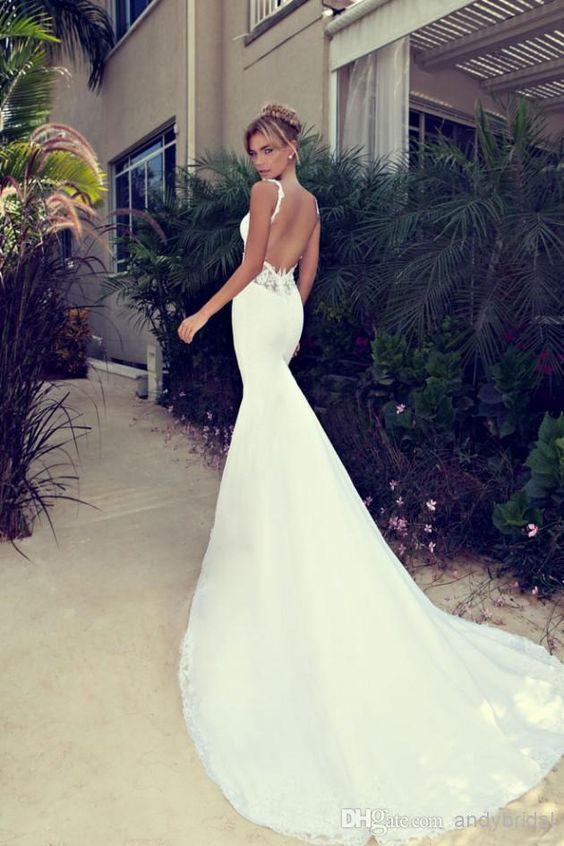 Wholesale Nurit Hen 2014 Spaghetti Strap Backless Wedding Gown Beaded Appliques/Lace Ruffled Garden/Church Empire Open Back Mermaid Wedding Dresses, Free shipping, $151.84/Piece | DHgate Mobile