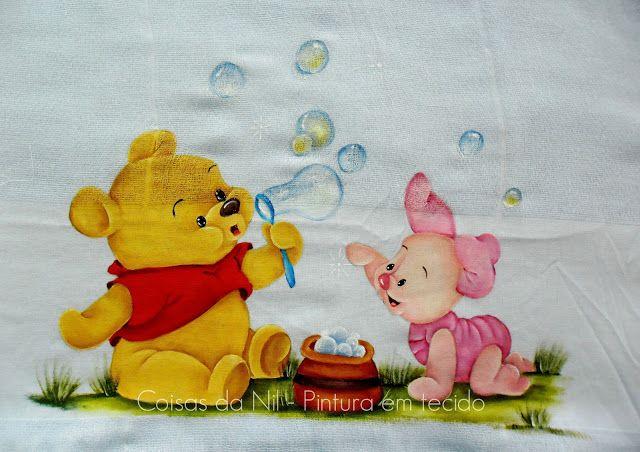 Coisas da Nil - Pintura em tecido: Ursinho Pooh e Leitão.