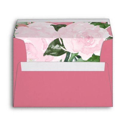 Pink and Green Watercolor Roses Dark Pink Envelope - floral style flower flowers stylish diy personalize