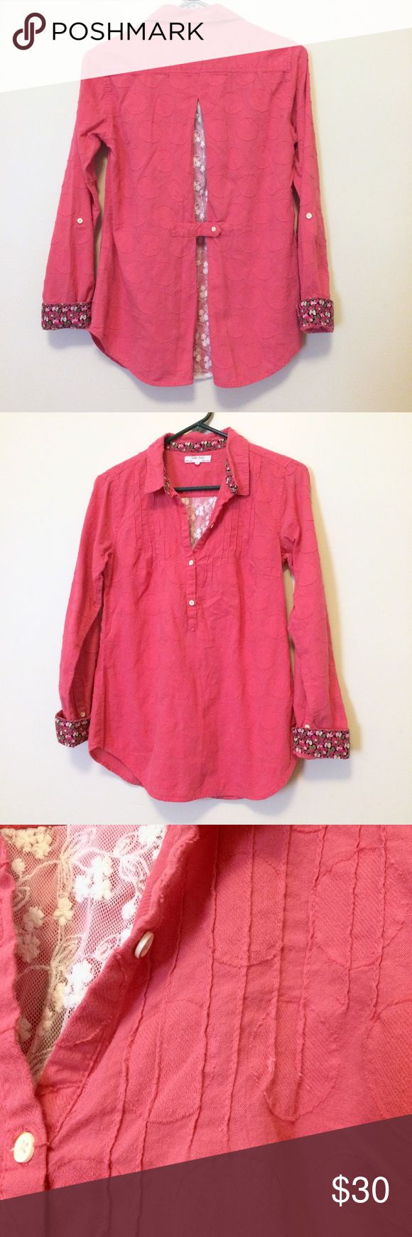 Anthropologie Isabella Sinclair Long Sleeve Top Pretty pink long sleeve top with large dot design woven into the fabric. Back has a lace inset. Worn a few times, but in great condition! Anthropologie Tops Button Down Shirts