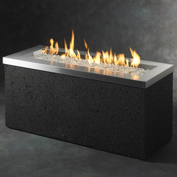 "With purple rock""""""""rectangular propane fire pit table 