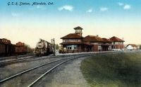 Grand Trunk Railway Station with Train, Allandale (Color - Part of modern day Barrie)