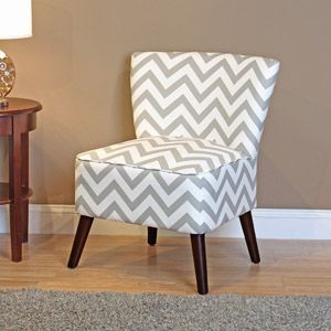 Kinsley Chevron Accent Chair, Gray and White ...add to living room once I have a different rug and add greys...