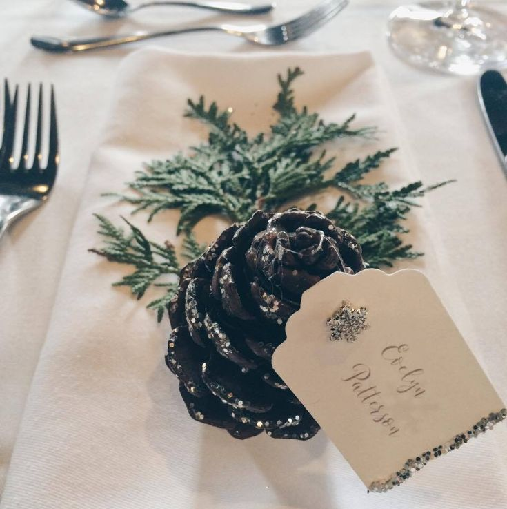 Pinecone name cards created by the talented bride at a Winter Wonderland wedding #AncasterMill #DIY