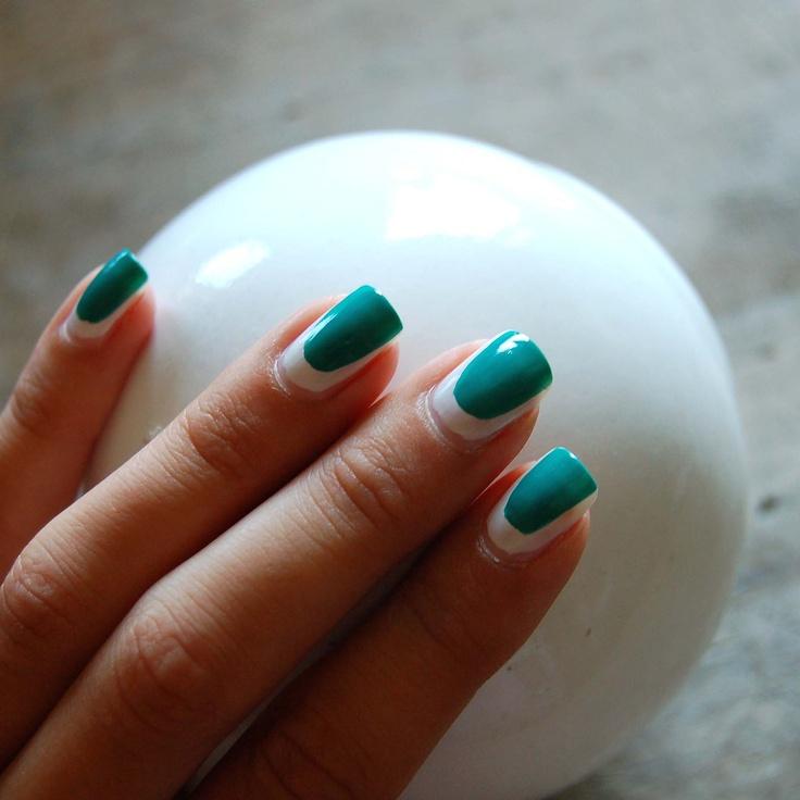 My nail art. Green on white.