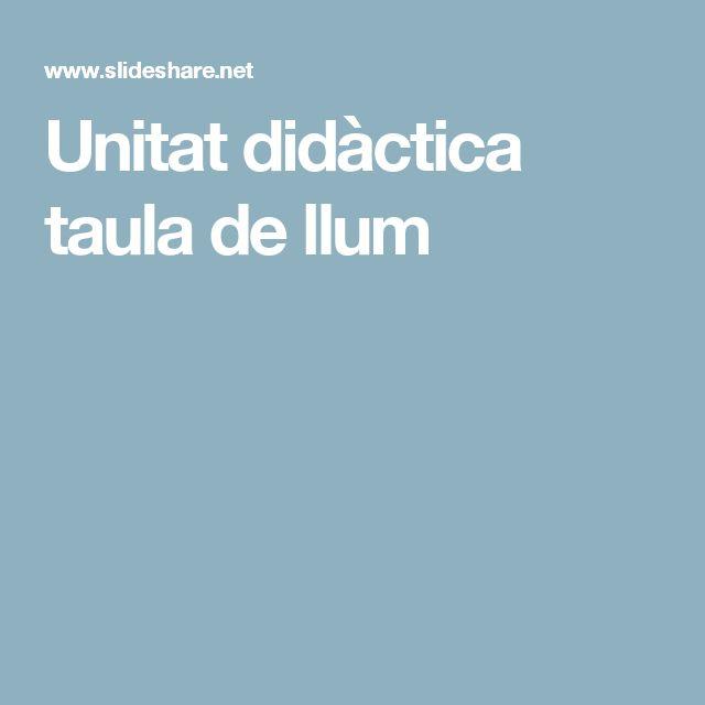 Unitat didàctica taula de llum