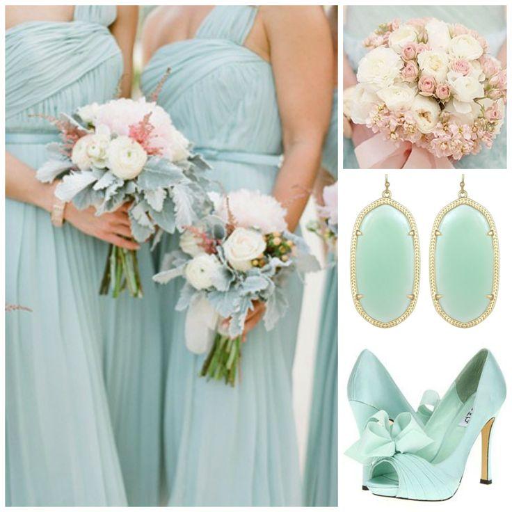 Mint bridesmaids attire #wedding
