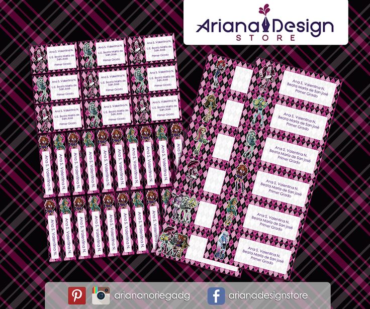 Kit Imprimible de #etiquetas personalizadas con el motivo #MonsterHigh. | 3 tamaños: 9 x 3,5 cm, 5 x 1 cm y 5 x 3 cm. |   Personalized and printable #labels pack - #MonsterHigh.  | 3 sizes: 9 x 3,5 cm, 5 x 1 cm and 5 x 3 cm. |   Tienda/Shop: https://arianadesignstore.etsy.com