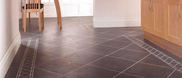 Karndean luxury vinyl ck25 noir dark stone effect kitchen for Tile effect vinyl flooring for kitchens