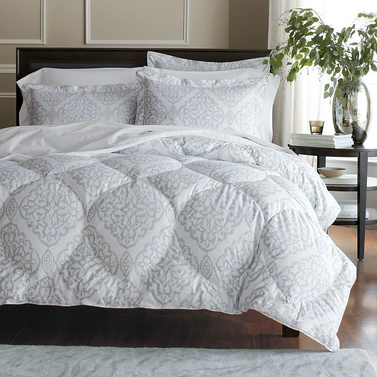 Chantilly Lace Down Comforter - 300-thread-count cotton sateen white shell embellished with silver and blue medallions