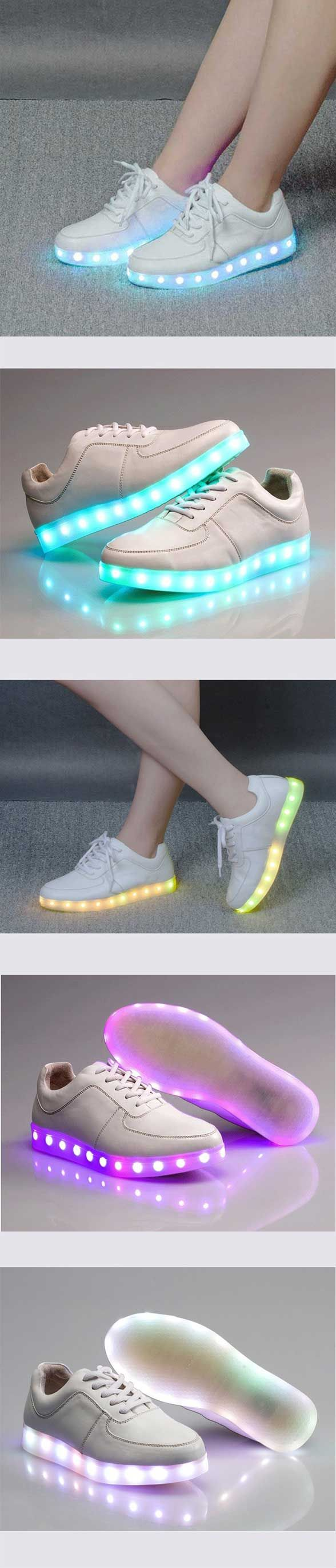 "Acever LED Sneakers - Let'em see your coming with these adult size LED shoes! So freakin awesome because I no longer have to be envious when my 6 year old nephew gets a new pair of kids light up shoes. Man I missed those! Another cool thing these LED shoes feature is that one pair has 7 color presets. Feel like a blue day? Make the shoes shine blue. Trying out that ""real men wear pink"" thing? Make'em pink! Easy as pushing a button. Comes in both Men's & Women's sizes…"