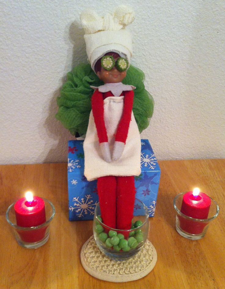 Elf on the Shelf, Ginger hits the spa for a little relaxation....