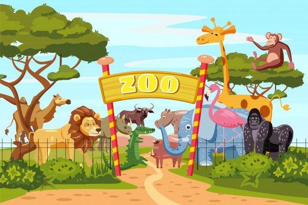 Cartaz De Desenhos Animados De Portoes De Entrada De Jardim Zoologico Com Animais De Elefante Leao Girafa Safari E Visitantes Em Territorio Desenho Girafa Jardim Zoologico Desenhos Animados