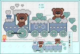 "Delicate Corner: Charts Cross Stitch ""Trenzinho with Bears"""