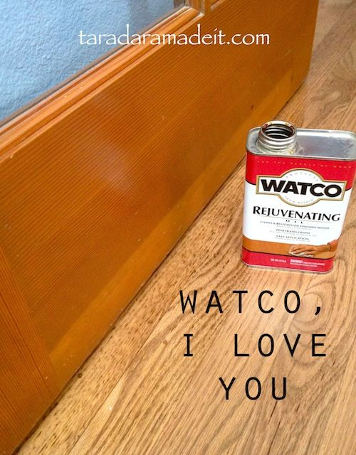 Got Wood?  Dinged, scratched, knicked cabinets, doors, and baseboards can be saved with this magic in a can.  It's cheap and doesn't require lots of elbow grease.  Great alternative to stripping