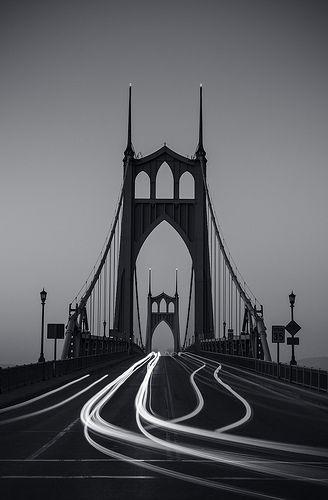St. John's Bridge, bridge, bro, darkness, speed, silhouette, stunning, night, photography, photo b/w.