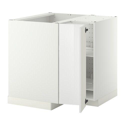 METOD Corner base cabinet with carousel, white, Ringhult white white - Ringhult high-gloss white 88x88x80 cm