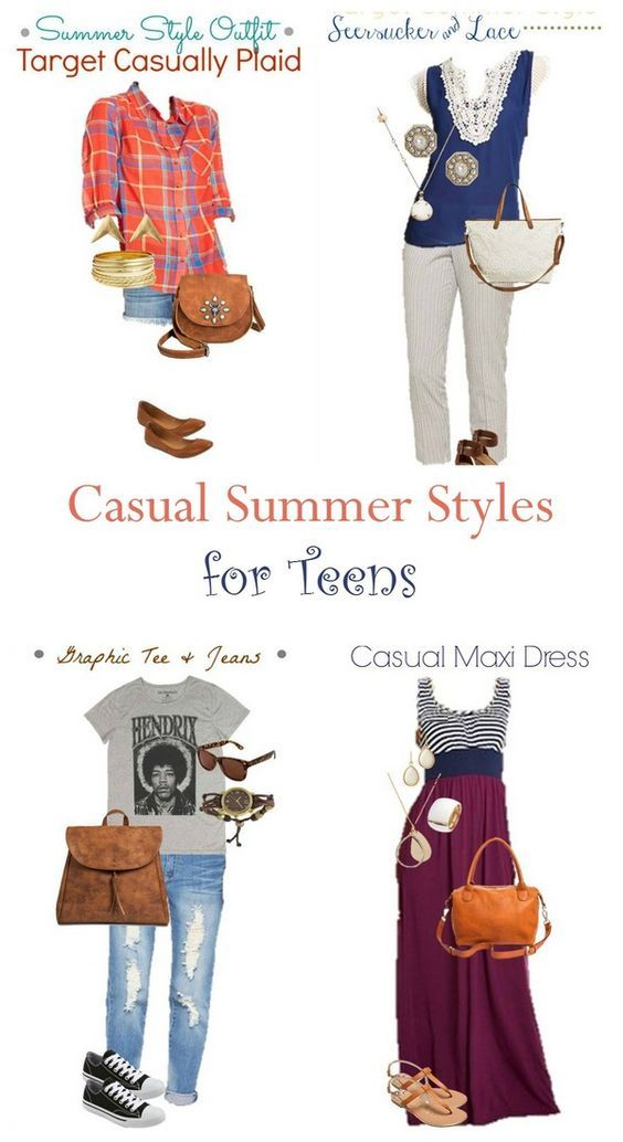 Check out these super stylish and totally put-together casual summer teen fashions that won't bust your budget! Four outfits from completely casual to classy!
