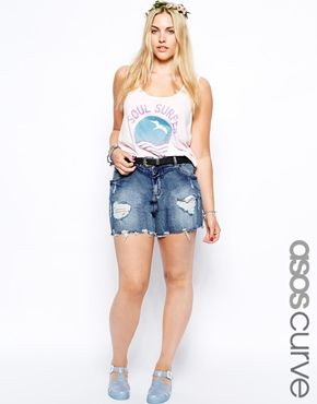 ASOS CURVE Denim Short In Vintage Wash With Rips
