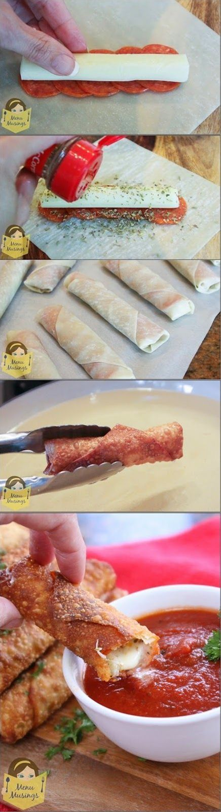 Ingredients: Eggroll wrappers, Pepperoni slices, Mozzarella string cheese, Dried oregano, Peanut oil for frying, Pizza sauce for serving.