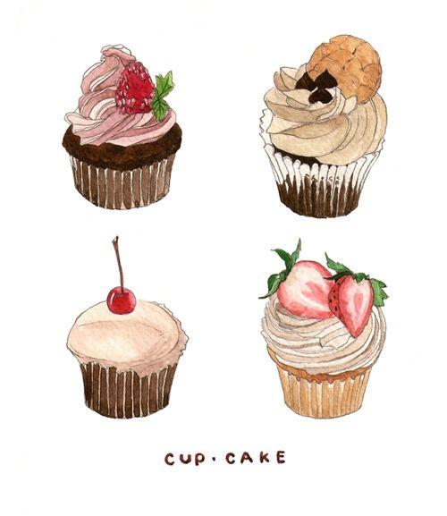 cupcake drawings/watercolor