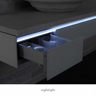 integrated into the handle of the vanity the night light provides a soft light that illuminates your bathroom