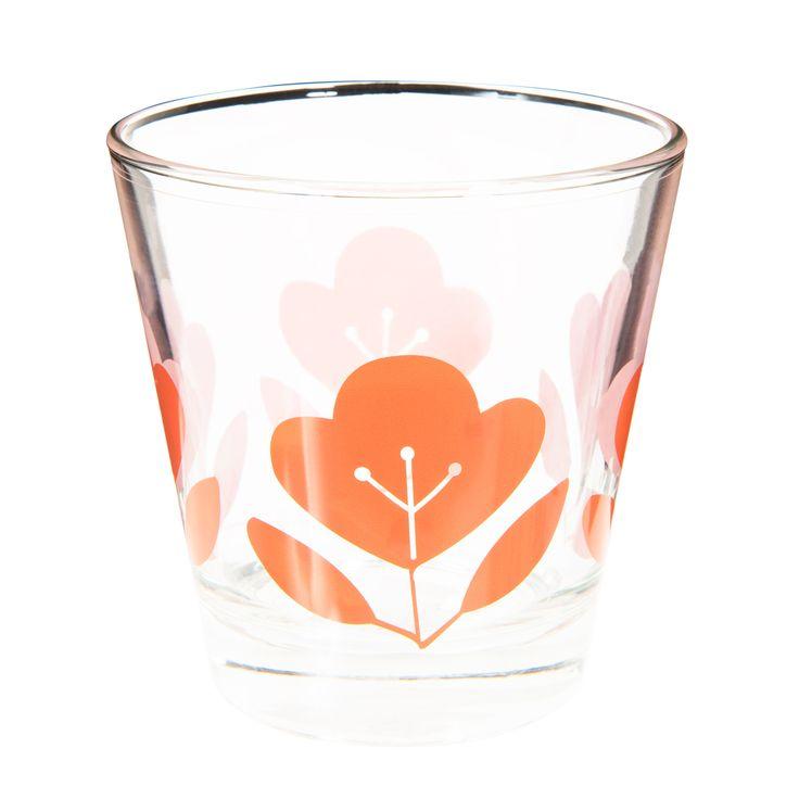 Gobelet en verre orange FLEUR VINTAGE   - Vendu par 6