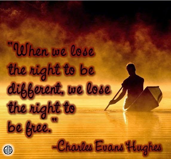 """When we lose the right to be different, we lose the right to be free."" --Charles Evans Hughes"