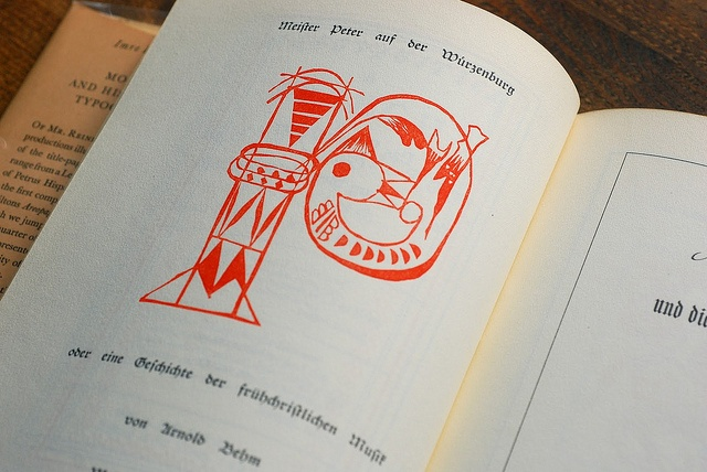 """Meister Peter's P    An illustrated guide of """"Modern and Historical Typography"""", from 1948 by Imre Reiner. The first edition was published in 1944. The book has many fine examples of historic title pages, calligraphy, bookplates, labels, billheads and other ephemera, including some nice work of Reiner's as well."""