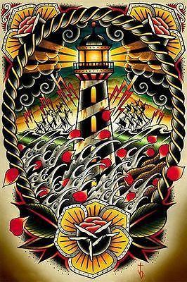 Last Port by Tyler Bredeweg Tattoo Art Print Traditional Artwork Lighthouse Wave