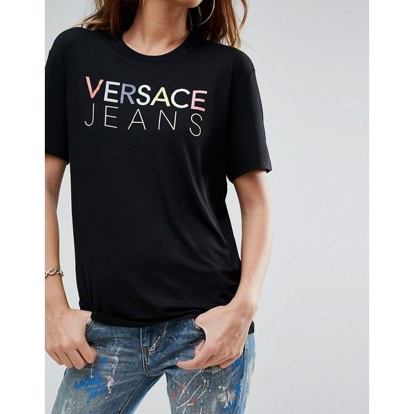 Versace Jeans Boyfriend T-Shirt with Logo (450 ILS) ❤ liked on Polyvore featuring tops, t-shirts, oversized t shirt, oversized boyfriend tee, relaxed fit t shirt, rayon t shirts and animal print t shirts