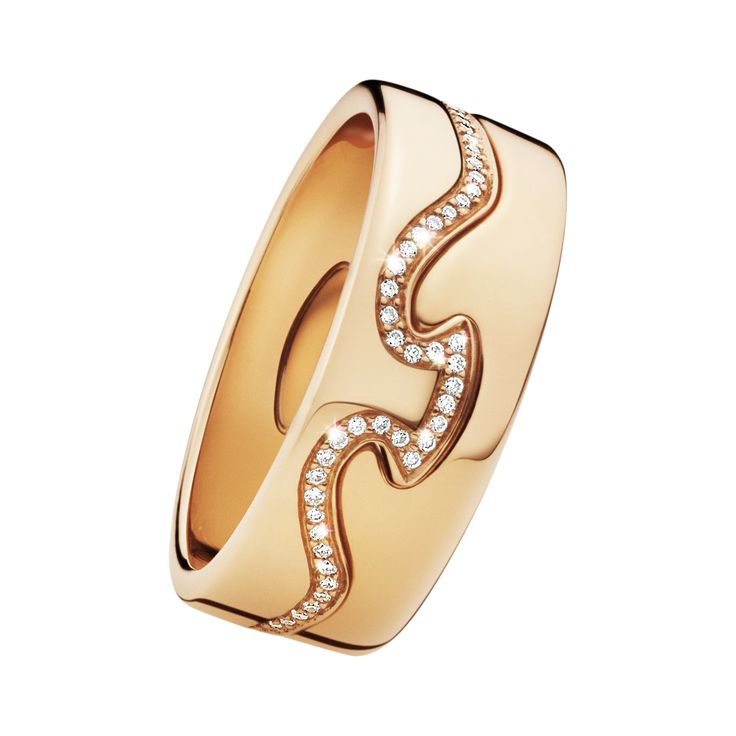 Georg Jensen FUSION ring - 18 kt. red gold with brilliant cut diamonds, 2 parts