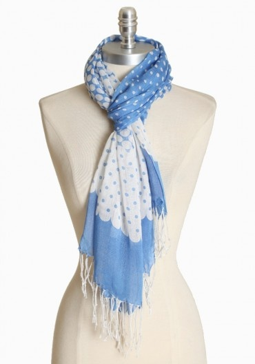 $14.99 from Ruche: White Scarfs, Dots Parade, Polka Dots, White Scarves, Cute Scarfs, Includ Fringes, Personalized Style, Parade Scarfs, Blue And White