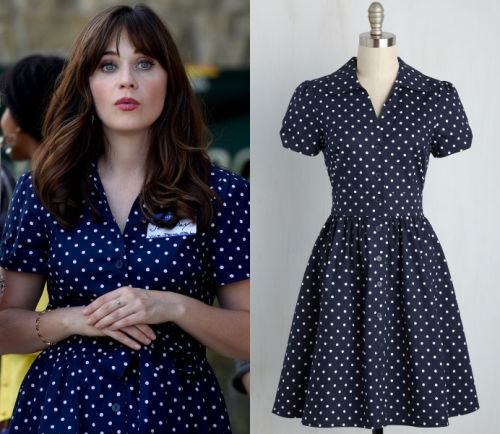 "Jess Day (Zooey Deschanel) will be wearing this navy polka dot shirtdress in New Girl episode ""James Wonder"""