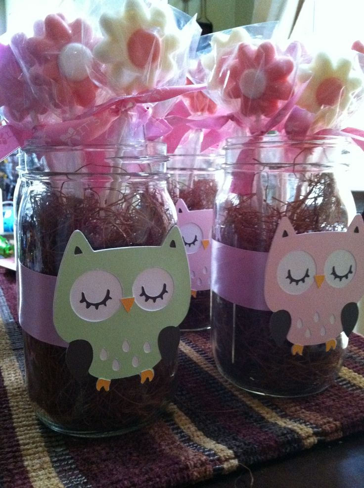 Mason Jar Owl Center Pieces I Made For My Sister N Laws Baby Shower
