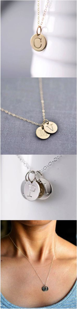 This is that stylish elegant everyday necklace you've been looking for. Beautiful hand-stamped initial necklace in solid gold, personalized with your initial. | Made on Hatch.co by independent designers and makers.