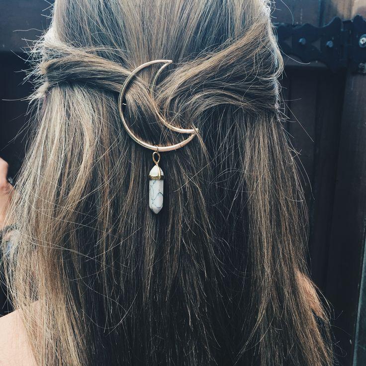 Moon with stone hair barrette (minimalist boho style)