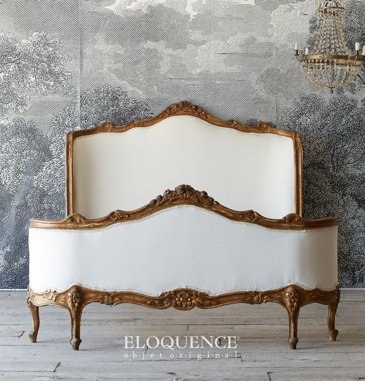 "Eloquence Vintage French Louis XV Hand Carved Full Bed Louis XV style cabriole legs and sinuous curves make this an excellent way to capture the spirit of France. The inner mattress dimensions are 59"" wide by 83"" deep. The outer dimensions are 53"" Tall, 63"" wide and 83"" deep.  Gorgeous bed!  http://www.parishotelboutique.com/store/Eloquence-Vintage-French-"