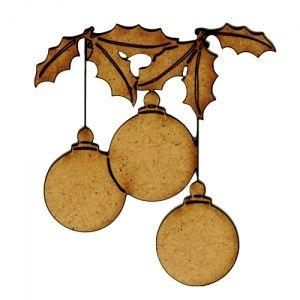Strung Baubles & Holly MDF Wood Shape - Style 2