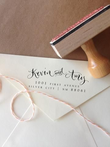 Add style to your snail mail (those ugly labels are a thing of the past, and they definitely won't do for your wedding envelopes)! Each made to order stamp features a handwritten design, created with