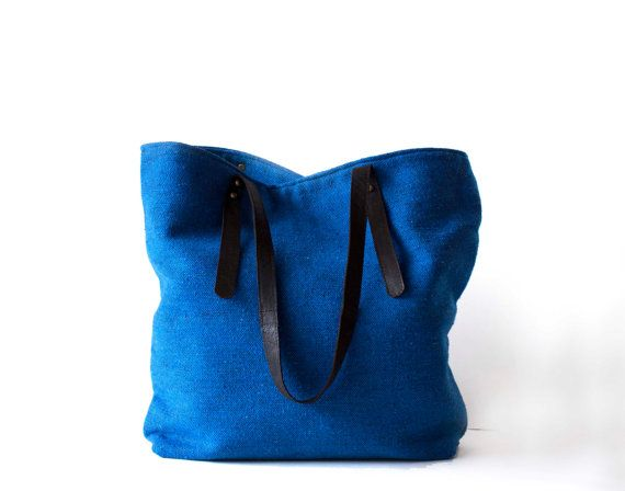 Electric Blue Oversized Tote / Large Shoulder Bag  / by morelle