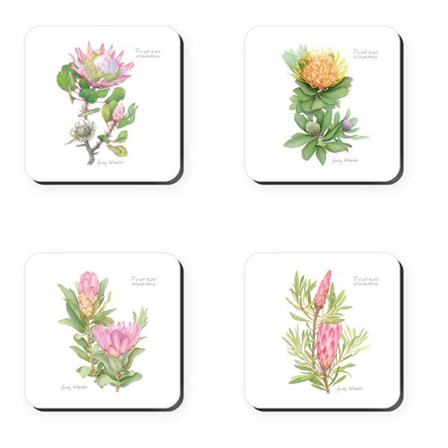 Proteas of South Africa - Coasters    Featuring photographs of a range of pretty proteas – the crown jewel of our plant kingdom – these coasters make the perfect gift.     Buy online at NguniGalore.com - Delivery to anywhere in South Africa is FREE