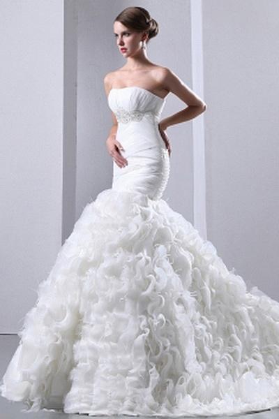 Strapless Trumpet-Mermaid Organza Wedding Gowns wr0166 - http://www.weddingrobe.co.uk/strapless-trumpet-mermaid-organza-wedding-gowns-wr0166.html - NECKLINE: Strapless. FABRIC: Organza. SLEEVE: Sleeveless. COLOR: Ivory. SILHOUETTE: Trumpet/Mermaid. - 164.