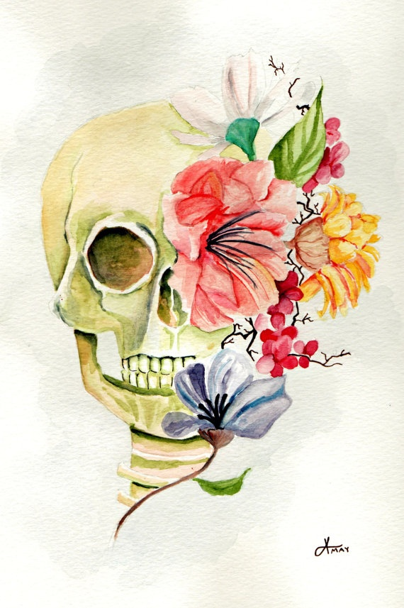 Skull watercolor. Art in a bio/botany lab/work room.  I would love a tat of this.  About this size too (and brighter colors!)  I love it!