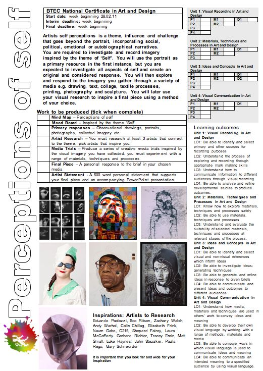 PERCEPTIONS OF SELF  BTEC, Project Brief, Level 3, departmentart, departmentart.co.uk, school art, art, art brief, art project