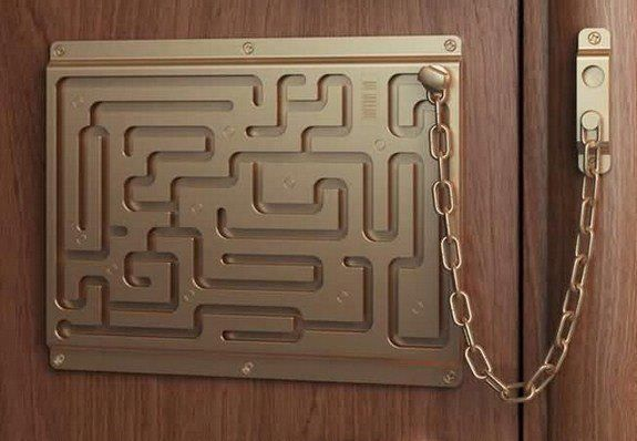 Dude, I want one. o.oCool Home Decor, The Doors, Chains, Front Doors, Doors Locks, House, Safety First, Maze, Amazing Ideas