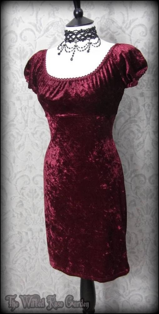 Romantic Goth Burgundy Crushed Velvet Mini Dress 10 Alternative 90's Grunge | THE WILTED ROSE GARDEN